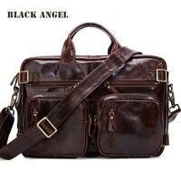 Черный Ангел Пояса из натуральной кожи человек сумка Портативный многоцелевой двойной плеча сумку Винтаж коровьей Портфели