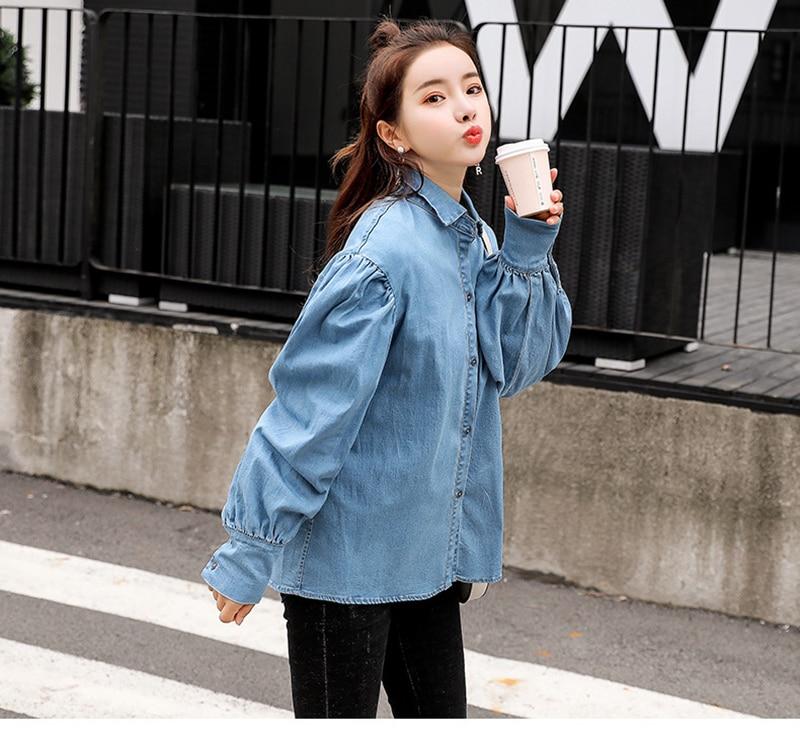 Tops Taille 2019 La Casual Shirt Bleu Manches De Harajuku Mode Plus Femmes Blouses Blouse Denim Jeans Ressort Cru Automne Chemise Lanterne zxqzpHrv