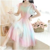 New Summer Sweet Gradient Color Kawaii Dress Short sleeved Rainbow Women Dress Elegant Perspective Mesh Dresses With Belt
