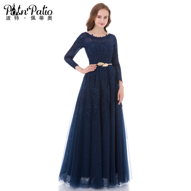 PotNu0027Patio Real Photo Lace Long Sleeves Evening Dresses Floor Length 2017  Navy Blue