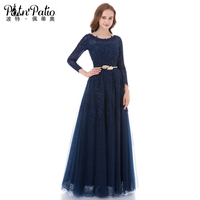 PotN Patio Real Photo Lace Long Sleeves Evening Dresses Floor Length 2017 Navy Blue Long Mother