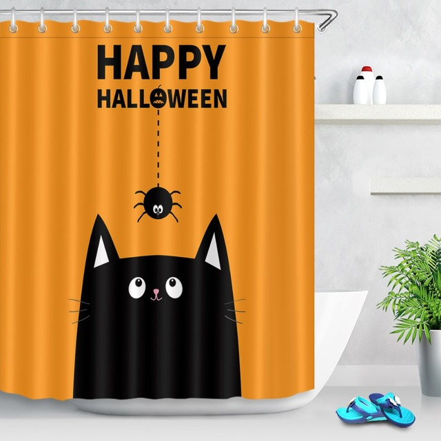 LB Cute Black Cat Face Orange Spider Insect Shower Curtain Funny Halloween Waterproof Bathroom Fabric For