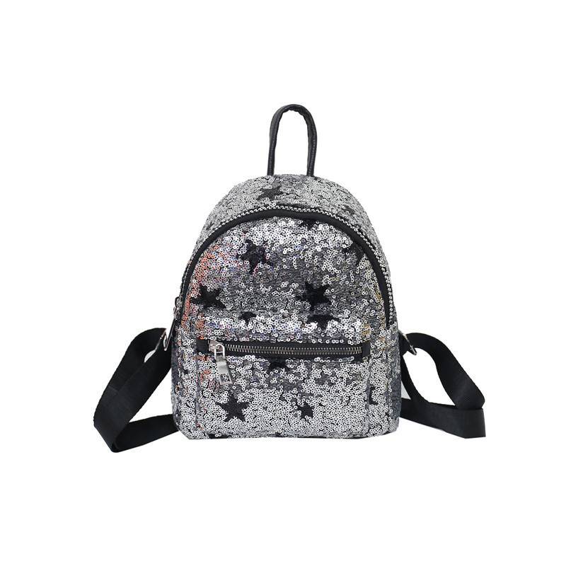 Detail Feedback Questions about 2018 star Mini Glitter Backpack Women  Silver Sequin Daypacks 2018 Teenage Girls Black PU Leather Bling Backpacks  mochila ...