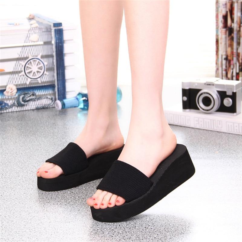 KLV Summer Soft Women Wedge Sandals Thong Flip Flops Flat Platform Slippers Beach