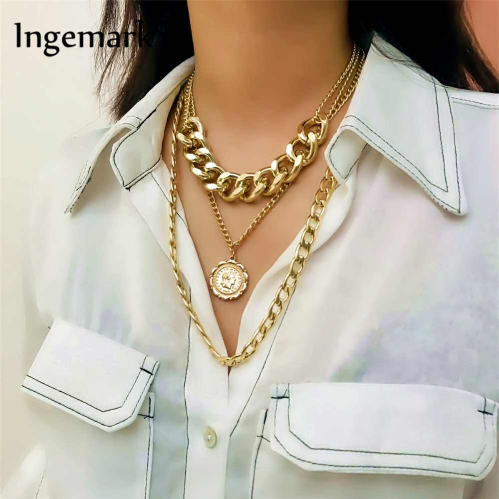 Ingemark Punk Miami Cuban Choker Necklace Exaggerated Thick Chain European&America Fashion Queen Pendant Necklace Women Jewelry