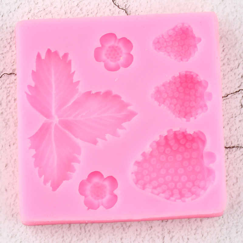 Strawberry Silicone Mould 3D Flower Leaf Fondant Mold DIY Cake Decor Tools Cute