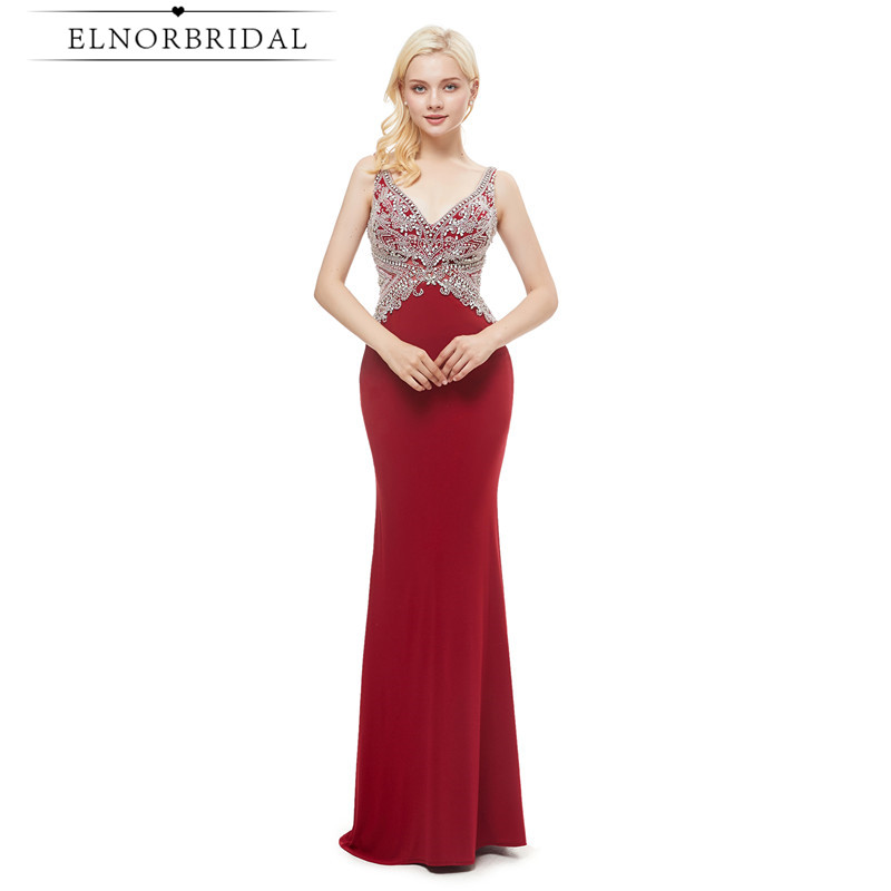 Luxury Red Backless Mermaid Prom Dresses 2019 Beaded Crystal Robe De Bal V Neck Formal Special Occasion Dresses Party Gowns