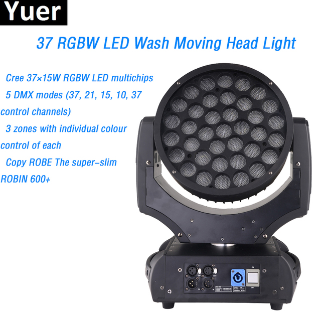 Free shipping Cree 37x15W RGBW LED Zooming Wash Moving Head Light 5 DMX modes Copy ROBE Professional Stage  Lighting Equipment
