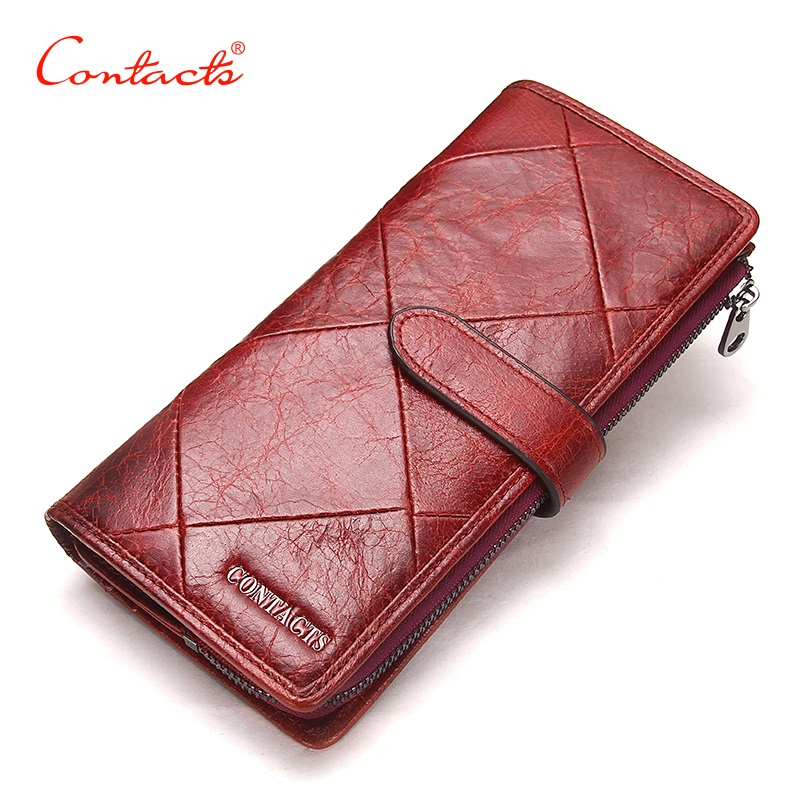 CONTACT'S New Genuine Leather Women Wallets Lady Purse Long Alligator Wallet Elegant Fashion Female MenClutch With Card Holder