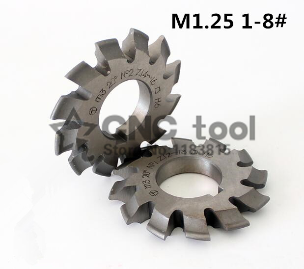 Free Shipping 1PCS M1.25 Modulus PA20 Degrees NO.1-NO.8 HSS Gear Milling Cutter Gear Cutting Tools