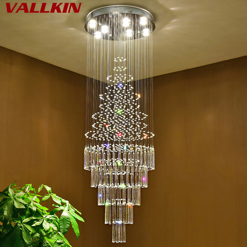 Stair LED Crystal Chandeliers Lights Crystal Chandelier Indoor Lighting Luxury Clear Glass Chandeliers Lamp Suspended Lamps turkish mosaic lamps blue crystal glass led lights hand blown murano glass chandelier lighting