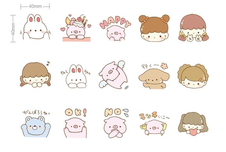 Купить с кэшбэком 45PCS/ PACK Kawaii Cute Pig Rabbit Sticker Marker Planner Diary DIY Stickers Scrapbooking School Supplies Bullet Journal sl1706