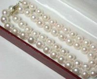 >Dongguan girl jewerly Store 8 9mm Hand Knotted White Akoya Cultured Pearl Necklace 18 AA+S No box