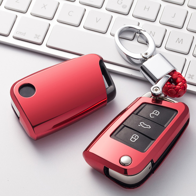 Soft TPU Car Key Remote Case Cover Holder Case For Volkswagen VW Golf 7 mk7 Seat Ibiza Leon FR 2 Altea Aztec For Skoda Octavia