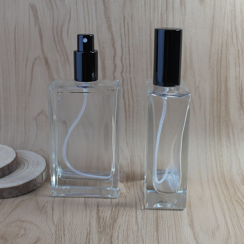 цены 2pcs/lot 100ML Transparent Glass Spary Empty Bottle & Gray Cap Flat Style Semi Clear Glass Spray Perfume Bottle