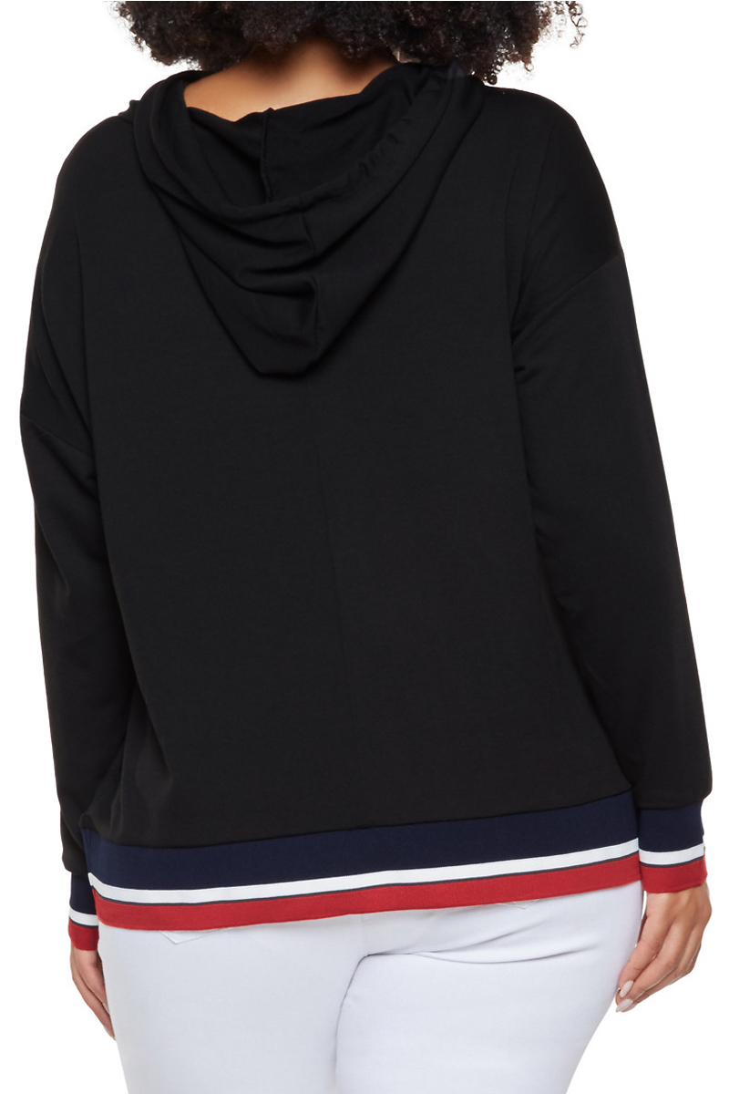 Tricolor-Striped-Trim-Black-Plus-Size-Hoodie-LC251541-2-2