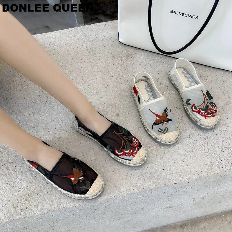 Fashion Brand Flats Shoes Women Air Mesh Embroidery Hemp Platform Fisherman Casual Shoes Gingham Slip On Loafer Zapatos De Mujer