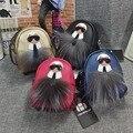 Marca de fábrica famosa de Cuero Monster Mini Monedero Cartera Llavero Llaveros Llavero Llavero Mujeres Bolsa Accesorios de Piel Colgante