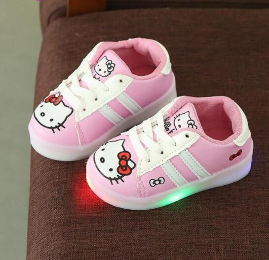 Spring Autumn Cartoon LED Lighted Child Sneakers Cute Tennis Breathable Baby Girls Boys Shoes Lovely Kids Toddlers