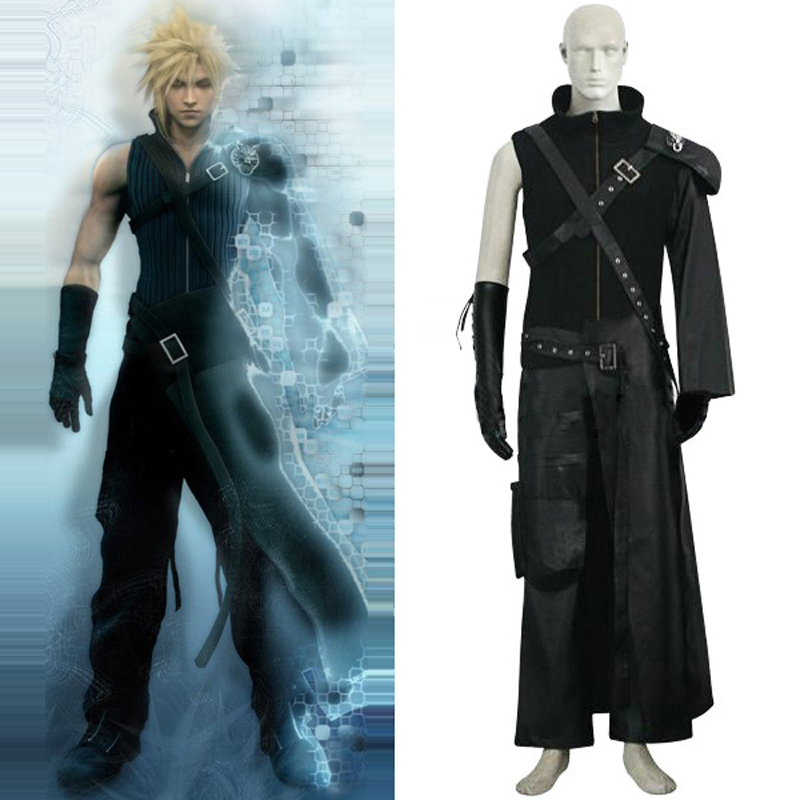 Free Shipping Final Fantasy VII 7 Cloud Deluxe Cosplay Uniform Suit Men's Halloween Full Set Costumes Custom-made