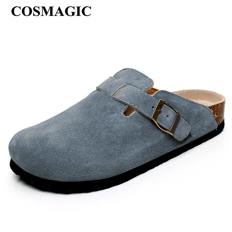 COSMAGIC 2019 New Summer Beach Cork Slippers Casual Women Solid Buckle Nubuck Leather Clogs Slides Slip