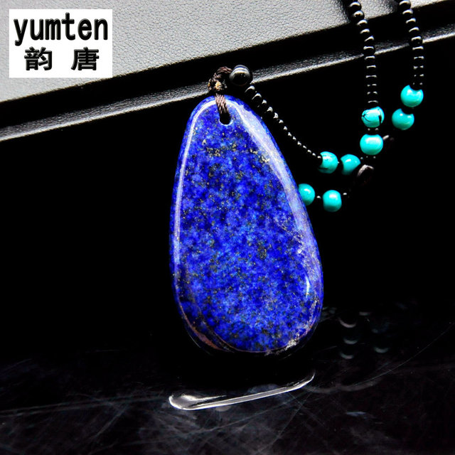 pendant chain itm anti sunlight silver lapis blue metal stone necklace lazuli