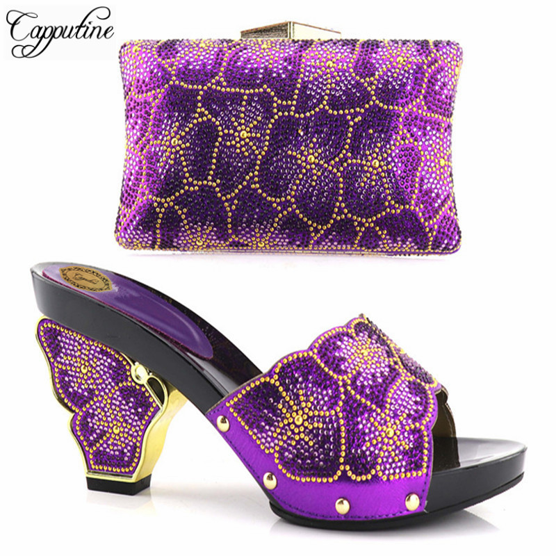 Capputine High Quality African Women Shoes And Bag Sets Italian Rhinestones Pumps Shoes With Matching Bags For Evening Dress g41 wonderful pattern european ladies shoes and bags sets with stone high quality women high heel with bag sets free shipping