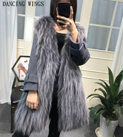 Import Real Raccoon Fur Strip Sewed Toghter Coat Cashmere Long Sleeve Womens Fashion Medium Long Jackets Luxury Fur Clothes