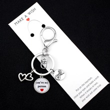 You are My Person Heart Love Keychains Hand in Pinky Swear Promise Key Chain Lobster Clasp Ring Women Men Jewelry Gift