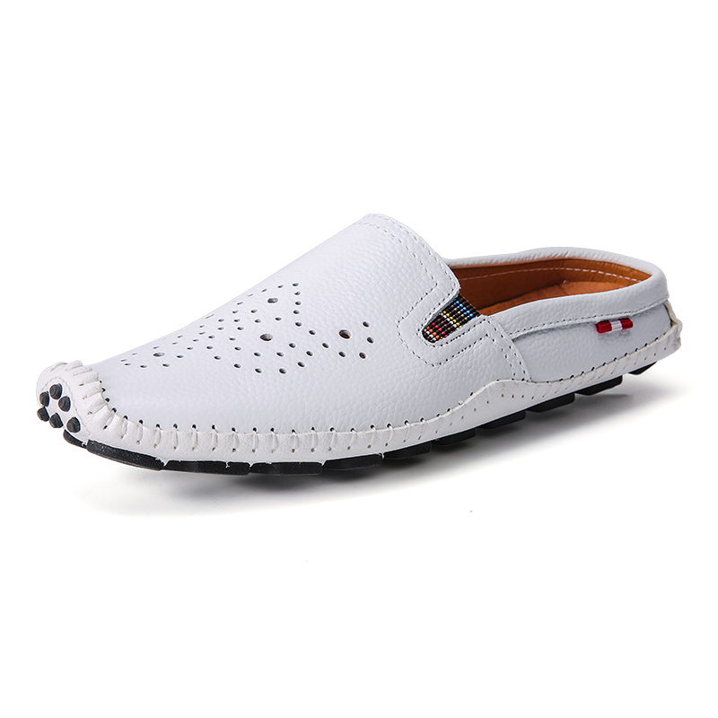 Genuíno Moda Verão Zdrd Confortável branco Masculinos laranja Legal Sandálias De Couro Respirável Chegada Homens Apartamentos Nova Sapatos Slides Mocassins Preto 11wqXfg