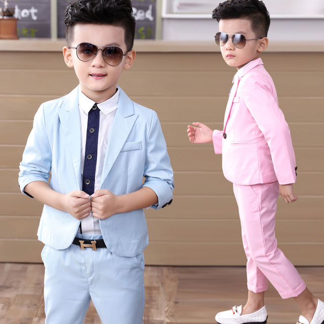 2017 NEW Child Suits Fashion slim Little Boys Clothing Sets Skyblue ...