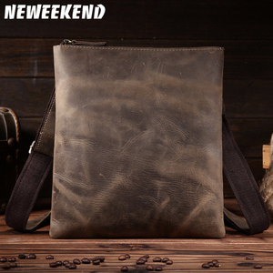 Image 1 - NEWEEKEND Retro Casual Genuine Leather Cowhide Crazy Horse Thin Slight Buckle Shoulder Crossbody iPad Bag for Man 8021 1