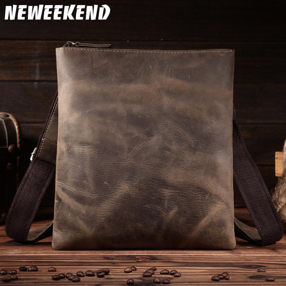 NEWEEKEND Retro na co dzień prawdziwej skóry skóry wołowej Crazy Horse cienkie lekkie klamry na ramię Crossbody iPad torba dla człowieka 8021 1 w Torby z długim paskiem od Bagaże i torby na  Grupa 1