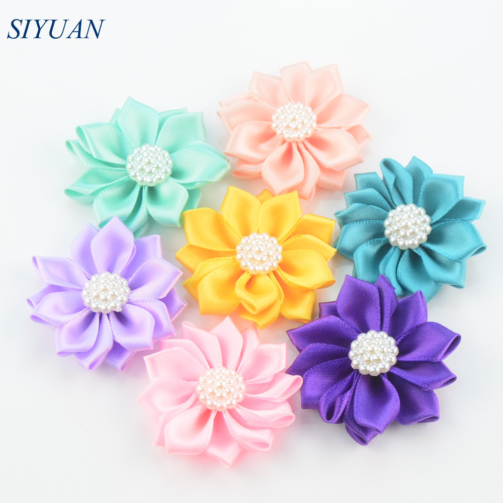 32pcs/lot1.8 Inch Multi Petal Mini Satin Rosette Flower with Pearl Button Newborn  Headband Accessories H0250 плюшевые аниме подушки игрушки poly moe fate stay night saber 2way bz1105