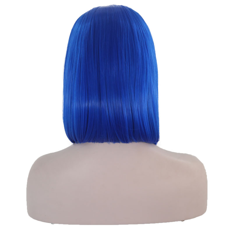 JOY amp BEAUTY Blue Bob Short straight Heat Resistant 12 quot Synthetic Lace Front Wig Middle Part Glueless Wigs For Women 150 Density in Synthetic Lace Wigs from Hair Extensions amp Wigs