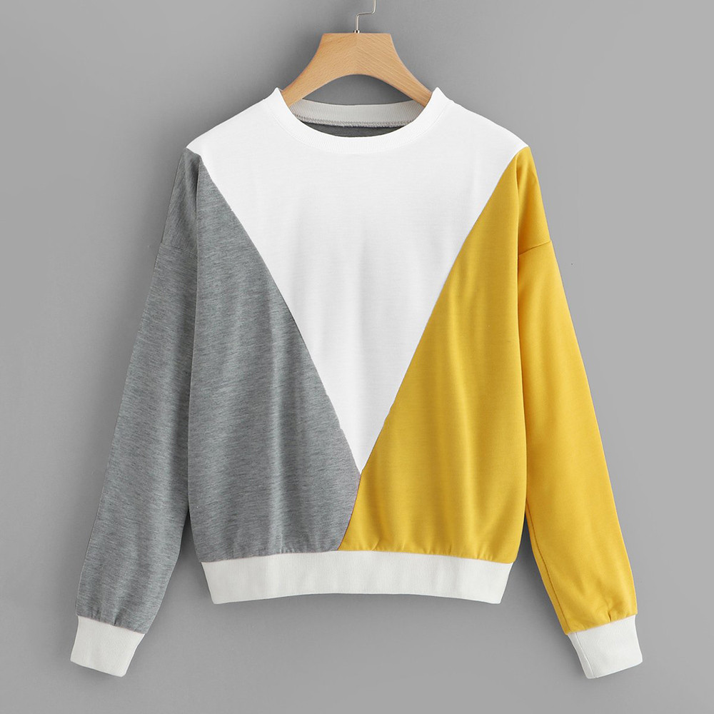Fashion Women Hoodies Sudadera Mujer Patchwork Long Sleeve Color Block Sweatshirt Pullover Top Blouse Sweatshirt Female Hot Sale