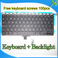 "Brand New UK keyboard+Backlight Backlit+100pcs keyboard screws For MacBook Pro 13.3"" A1278 2008-2012 Years"