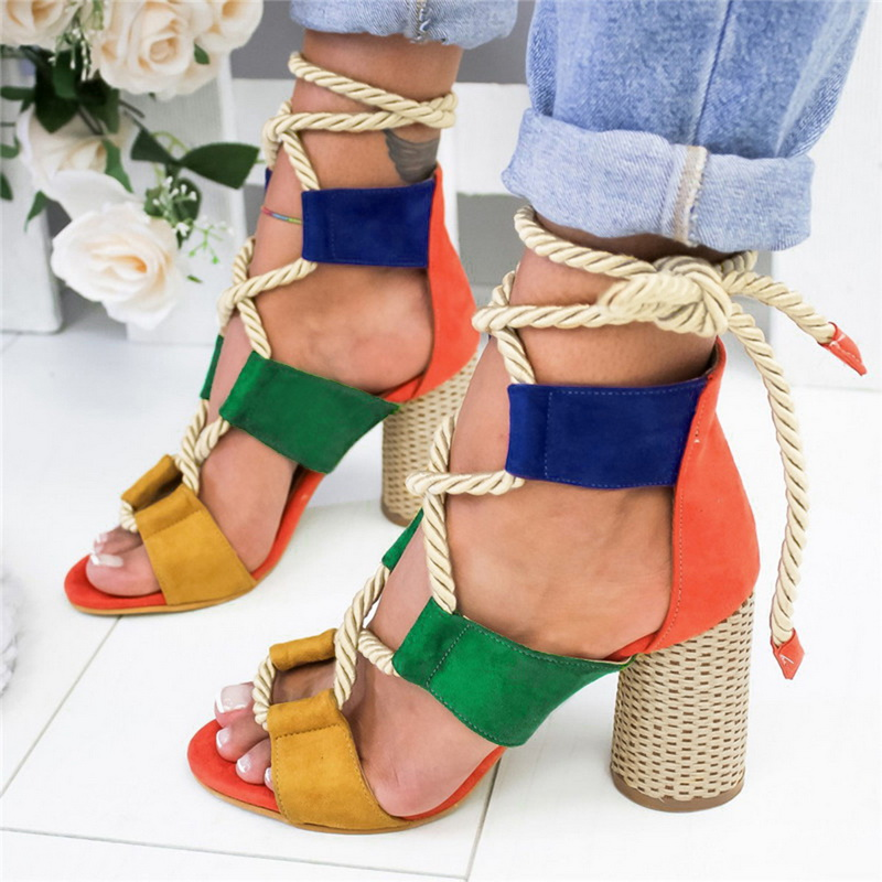 Women Pumps Sandals Heels Summer Shoes Thick Femme Fashion Lace-Up Gladiator for Chaussures