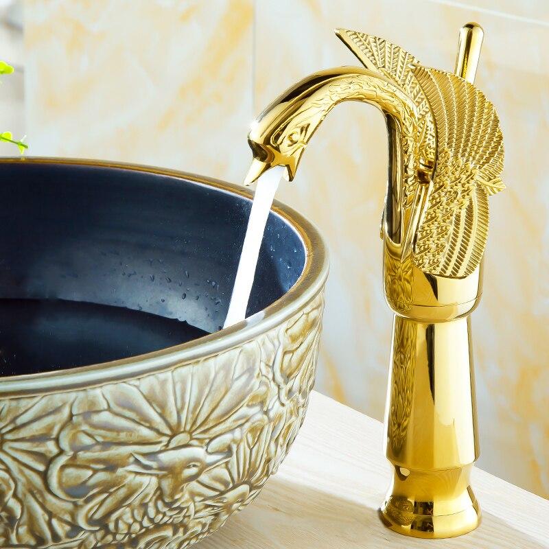 Golden Swan Faucet Solid Brass Leading European Faucet Copper Single Hole Wash Basin Gilt Shinny Gold Color Basin Faucet A982