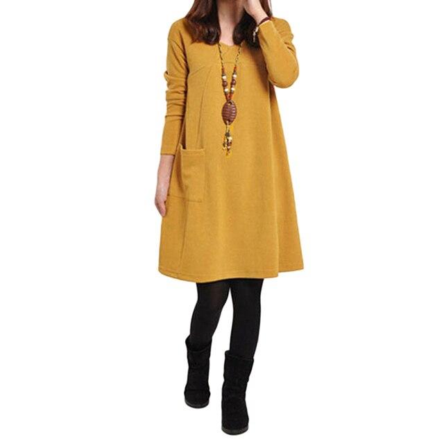 גודל גדול שמלות אישה קיץ שמלה 2019 Robe נקבה ארוך שרוול מיני שמלה בתוספת גודל 5XL כיס V צוואר הברך -אורך שמלת גברת