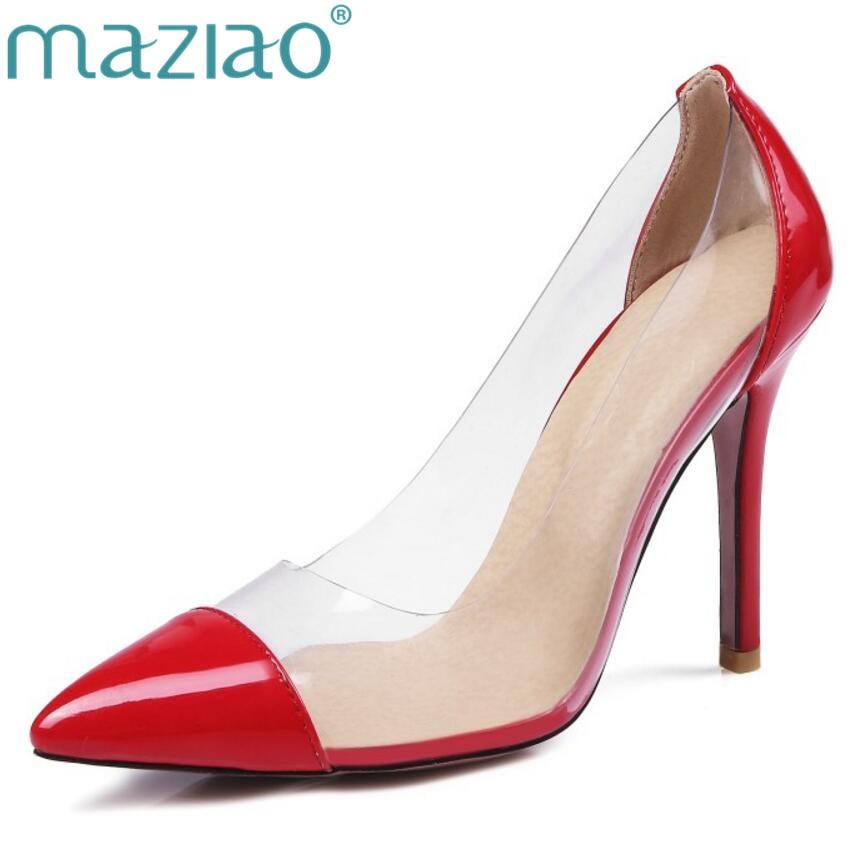 где купить MAZIAO Women Pumps 2017 Transparent 11cm High Heels Sexy Pointed Toe Slip-on Wedding Dress Shoes For Lady Size big size 44 45 по лучшей цене