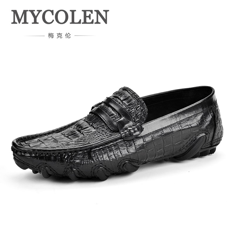 MYCOLEN Spring/Summer Men'S Shoes Leather Doug Crocodile Mens Casual Shoes Comfortable Fashion Leisure Breathable Man Shoes vikeduo brand 2017 fashion top real leather hollow breathable men shoes leisure casual lace shoes summer spring white footwear