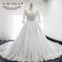 Роза Moda одежда с длинным рукавом Кружево Свадебное бальное платье V Средства ухода за кожей Шеи принцессы Свадебное платье с Royal поезд съемн