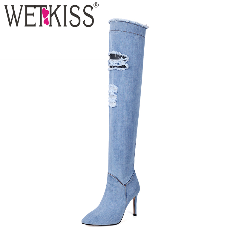 WETKISS Denim Over The Knee Women Boots Ripped Pointed Toe Thin Heels Footwear Holed High Heels Ladies Shoes Sexy Women Shoes new arrival high quality over the knee women boots sexy pointed toe shoes stiletto high heels blue denim jeans women boots
