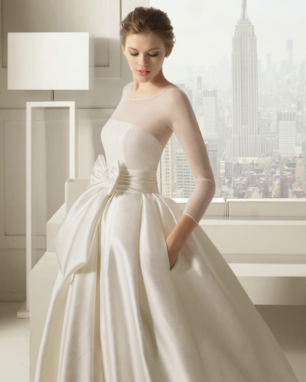 Long Sleeve Ivory Wedding Dresses 2015 Bow Ball Gown O Neck Net