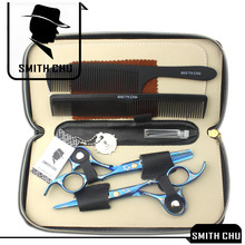 6.0 Smith Chu Japan 440c Steel Hair Scissors Professional Barbers Cutting Shear Salon Hairdresser's Thinning Clipper LZS0009 lili professional balding clipper for barbers and stylists cuts full head balding cutting machine super motor hair salon clipper