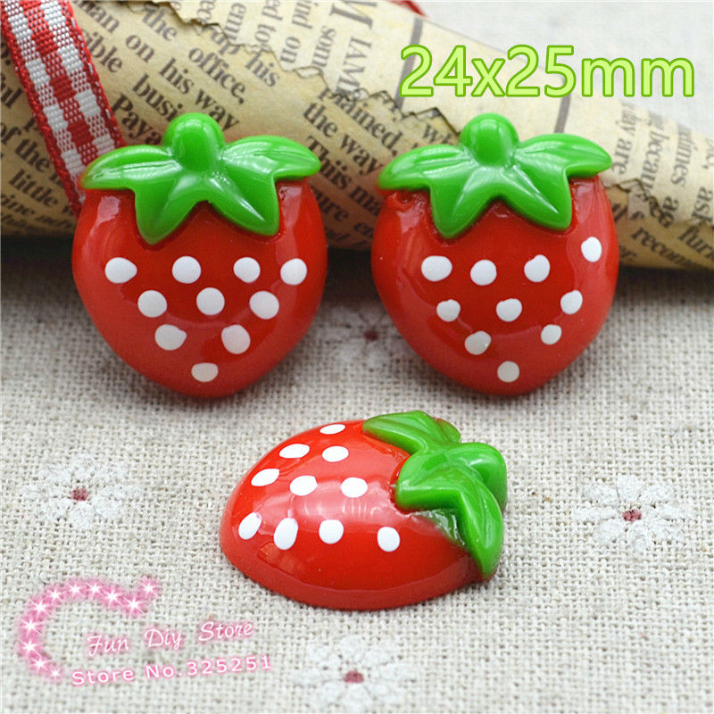 Resin red strawberry dessert Flat back for decoration,hair bow center 50pcslot 24x25mm