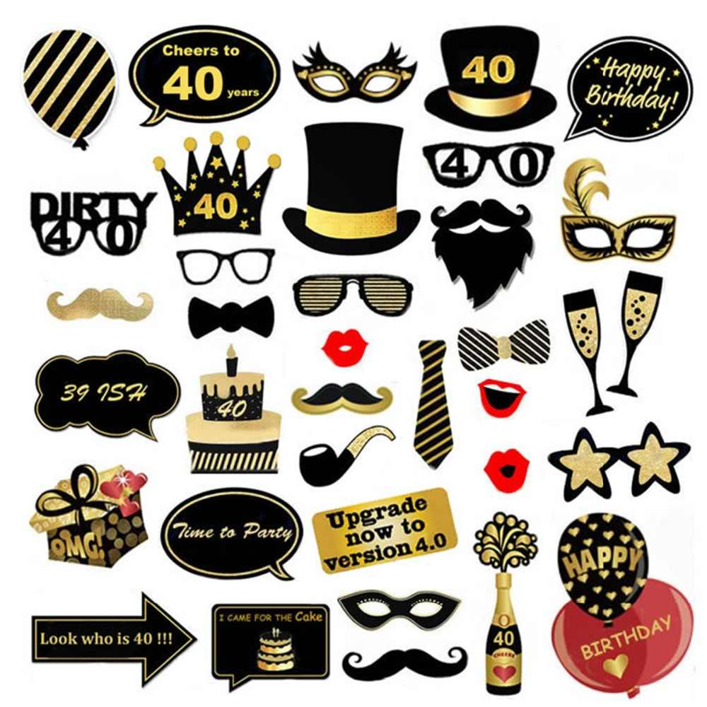 LAPHIL 40th Birthday Photo Booth Props Happy 40 Year Birthday Party Decorations Adult 40 Man Women Party Favors Photobooth Props