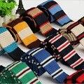 Flaco corbatas corbatas para los hombres de lana de tejer 5 cm marca lazos banda horizontal rayas lazo de los hombres camisa de vestir