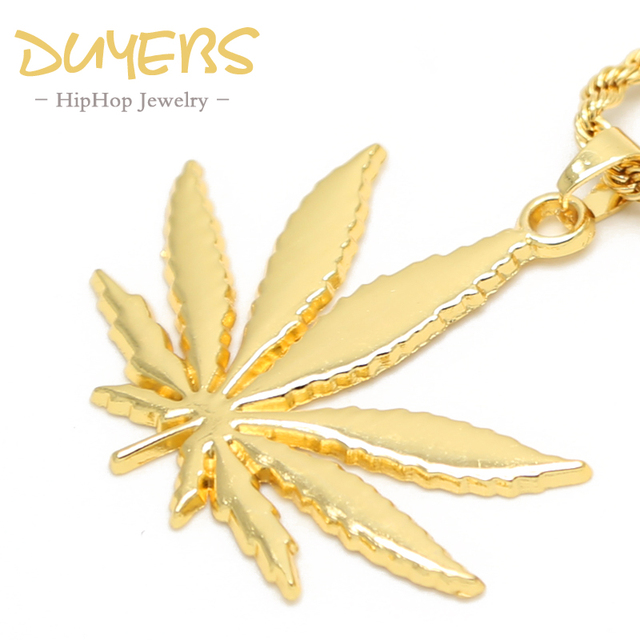 Duyebs gold color hemp leaf necklaces pendants trendy 76cm high duyebs gold color hemp leaf necklaces pendants trendy 76cm high quality street dance long aloadofball Images